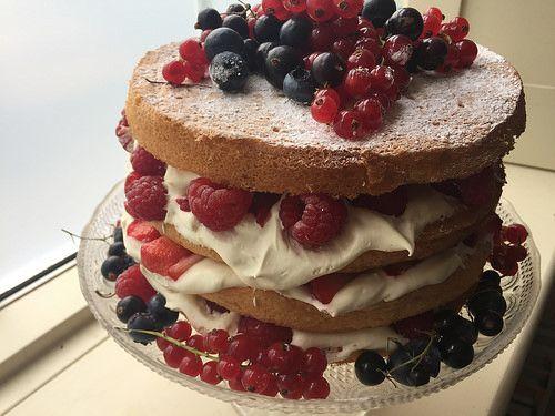 Summer Berry Whisked (Fatless) Naked Sponge Cake