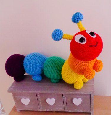 Large amigurumi Cyril the rainbow caterpillar by Liz Ward