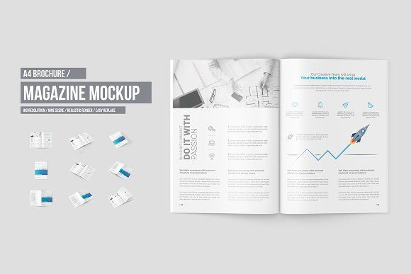 A4 Magazine / Brochure Mock-Up by ToaSin Studio on @creativemarket