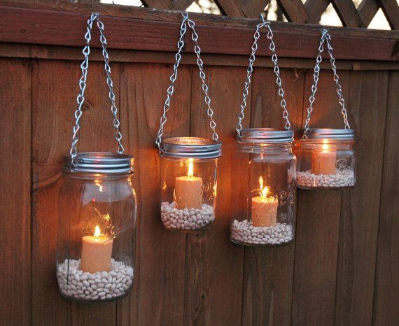 Hanging Mason Jar Garden Lights by TheCountryBarrel Lovely with coloured pebbles