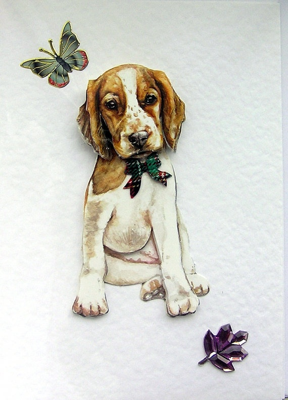 Beagle Puppy HandCrafted 3D Decoupage Card  Blank by SunnyCrystals, £1.45. Use Coupon Code SUMMER2012 for 20% Discount