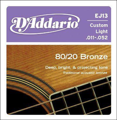 D'Addario Acoustic Guitar 80/20 Custom Light, .011 - .052, EJ13 by D'Addario. $3.83. NOTE DESCRIPTION DIAMETER INCHES TENSION LBS