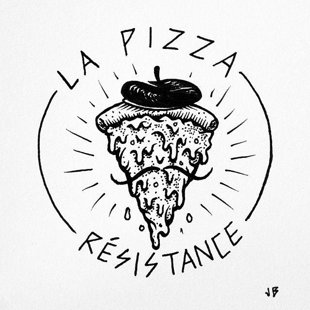 Pardon my French. #jamiebrowneart #pizza #puns #sodumb #scrapingthebarrel #beret…