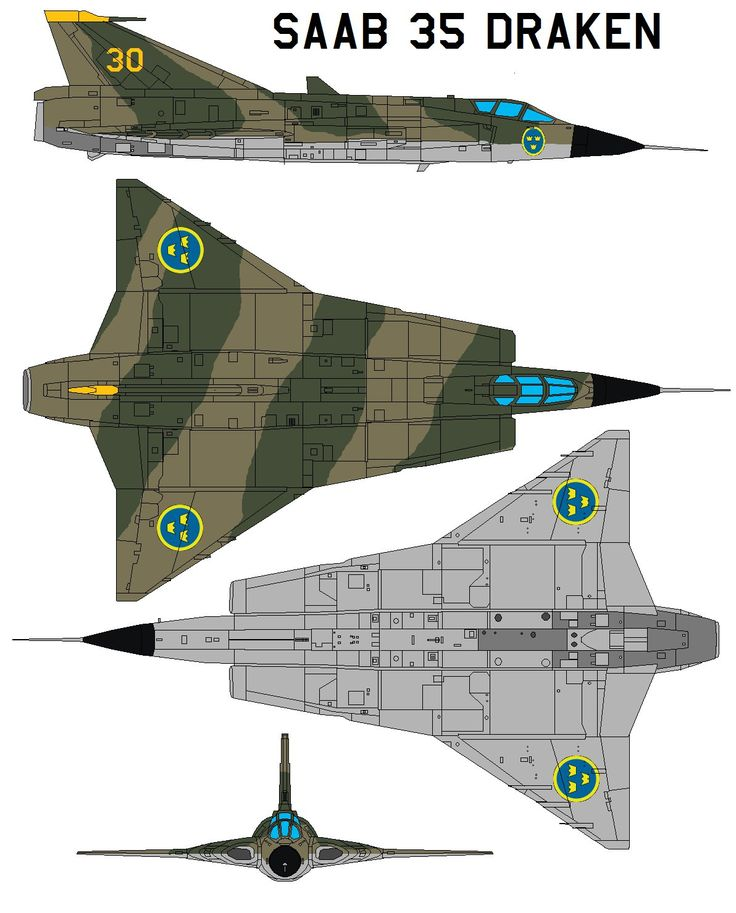 """The Saab 35 Draken (Swedish: """"kite"""" or """"dragon"""") is a fighter aircraft manufactured by Saab between 1955 and 1974. The Draken was built to replace the Saab J 29 Tunnan and, later, the fighter varia..."""