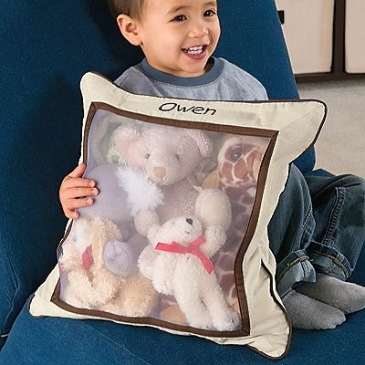 This Stuffed Animal Storage Pillow is perfect for taking to Grandma's house. Can be personalized for only $6. Found at One Step Ahead. Great dor storing lots of little animals at home too.