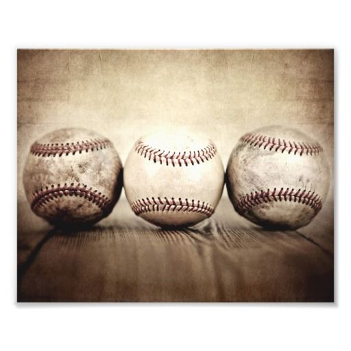 Three Vintage Baseball Art Photo #baby