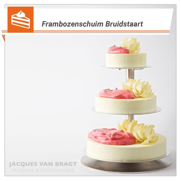Frambozenschuim Bruidstaart , http://banketbakkerijvanbragt.nl/html/patis-bruidstaart.html #bruidstaart, #trouwen, #biscuit, #maatwerk, #vanille, #frambozen, #schuim, #frambozenbavarois, #frambozencoulis, #taarten,