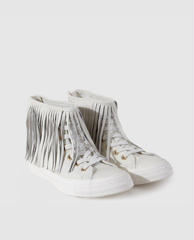 Zapatillas de piel de mujer Converse blancas