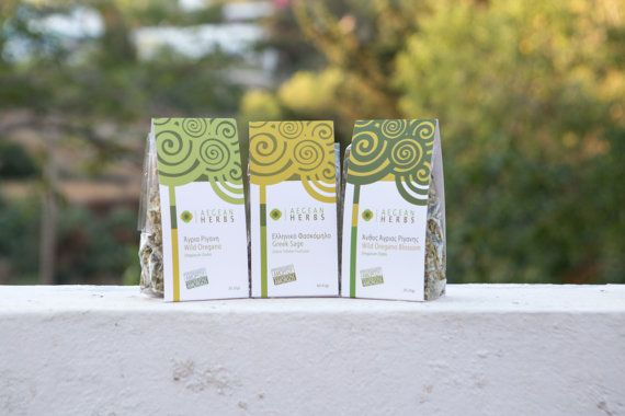 Selection of Three Sachets of Herbs, Sage, Oregano, Oregano Blossoms