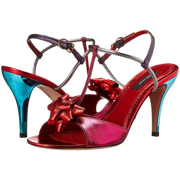 Marc Jacobs MJ24173 (Metallic Kang) High Heels ($390) ❤ liked on Polyvore featuring shoes, sandals, red, red shoes, toe-strap sandals, red high heel sandals, strappy high heel sandals and metallic strappy sandals
