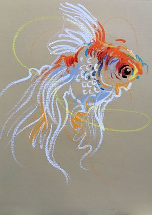 Animalines - Goldfish • original lines drawing by Tilen Ti