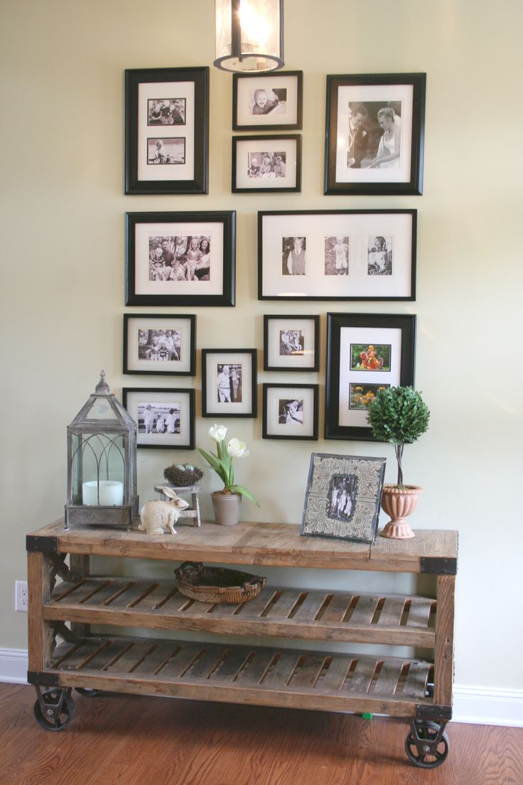 industrial chic hallway table, photo collage, & vignettes