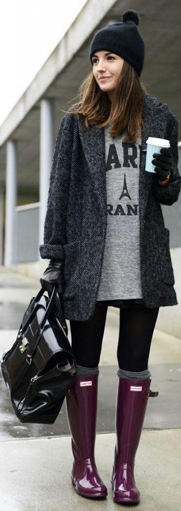 #winter #fashion / tweed coat + boots