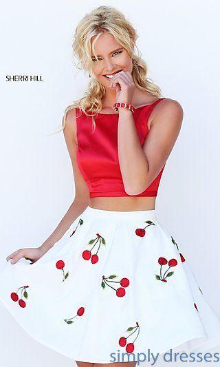 Two Piece Short Cherry Print Dress by Sherri Hill