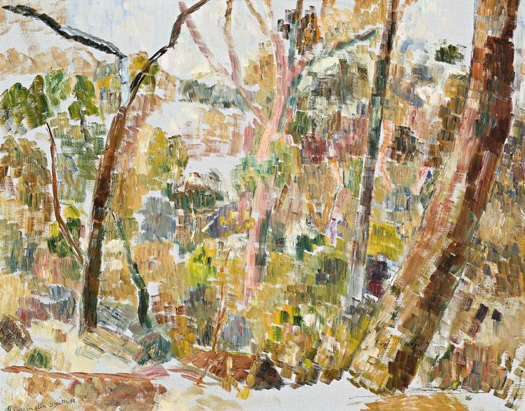 Grace Cossington Smith 'Ghost Gums', 1959 42.5 x 54.0 cm oil on canvas on board