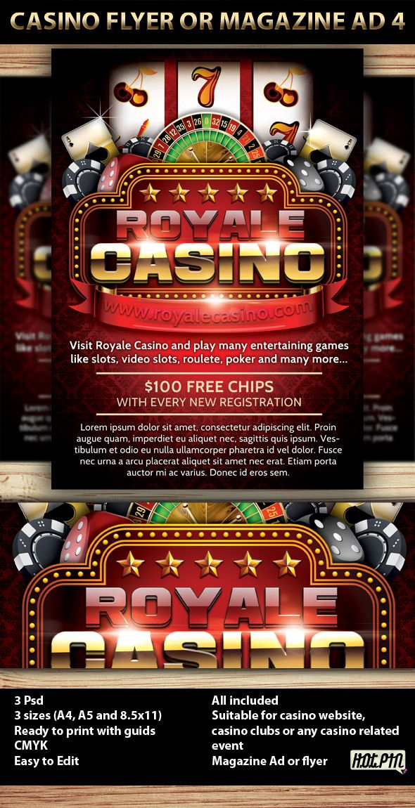 Casino Magazine Ad or flyer Template V5 by Christos Andronicou, via Behance