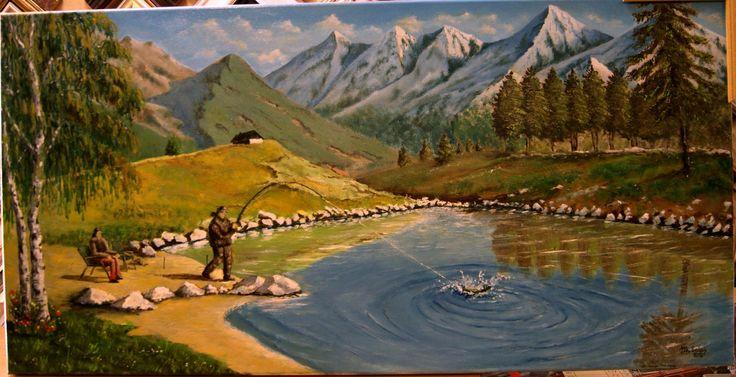 na rybačke olejomalba - fishing oil painting