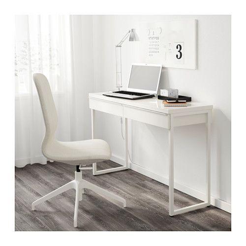 BESTÅ BURS Skrivbord, högglans vit högglans vit 120x40 cm