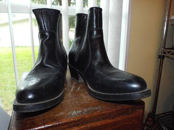 058d75565e4 Black Durango Boots 1990s Vintage Men's Black Leather Ankle Boots ...