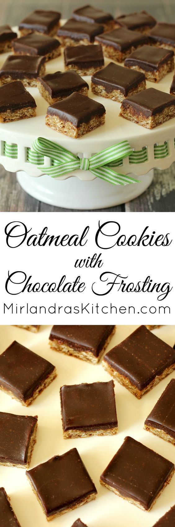 These oatmeal cookies with chocolate frosting are as decadent as they come. Rich, buttery frosting with deep chocolate flavor tops moist, chewy cookies.  Thankfully, they are also easy to make so you can have a wonderful batch any time you like.