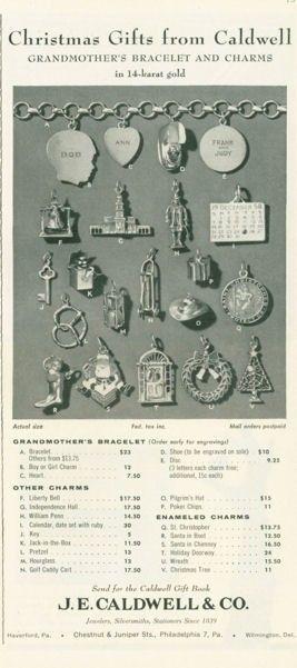1958 J E Caldwell Co 14k Bracelet Charms Print Ad   eBay..