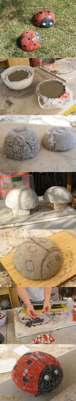 "Would make great ""mushroom"" tops too! DIY Concrete Ladybug."