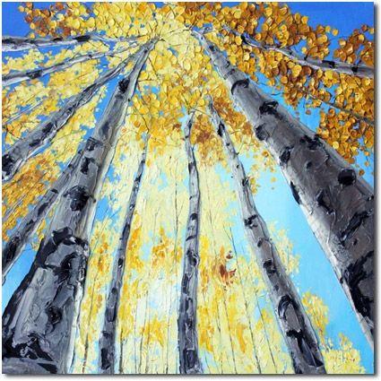 'Peace' Aspen Art Birch Tree Paintings by Jennifer Vranes, painting by artist Jennifer Vranes