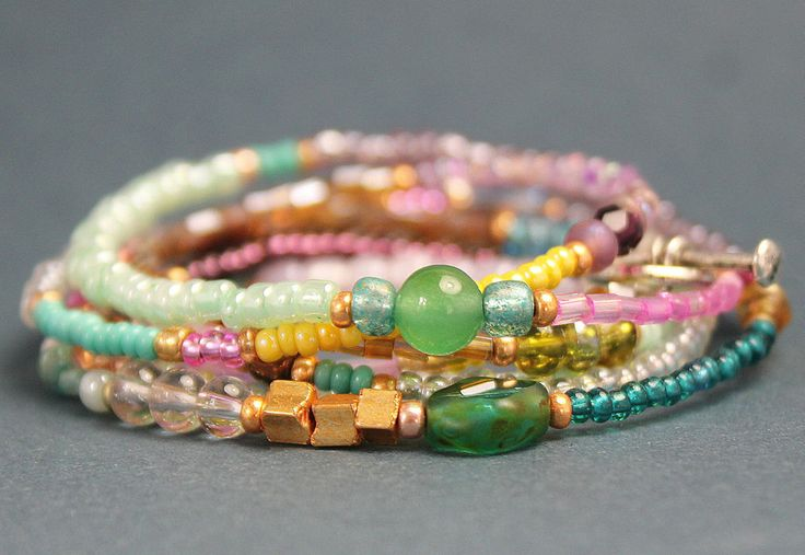 Armband Wickelarmband Kette  Perlen Glasperlen Rocailles pastell gold