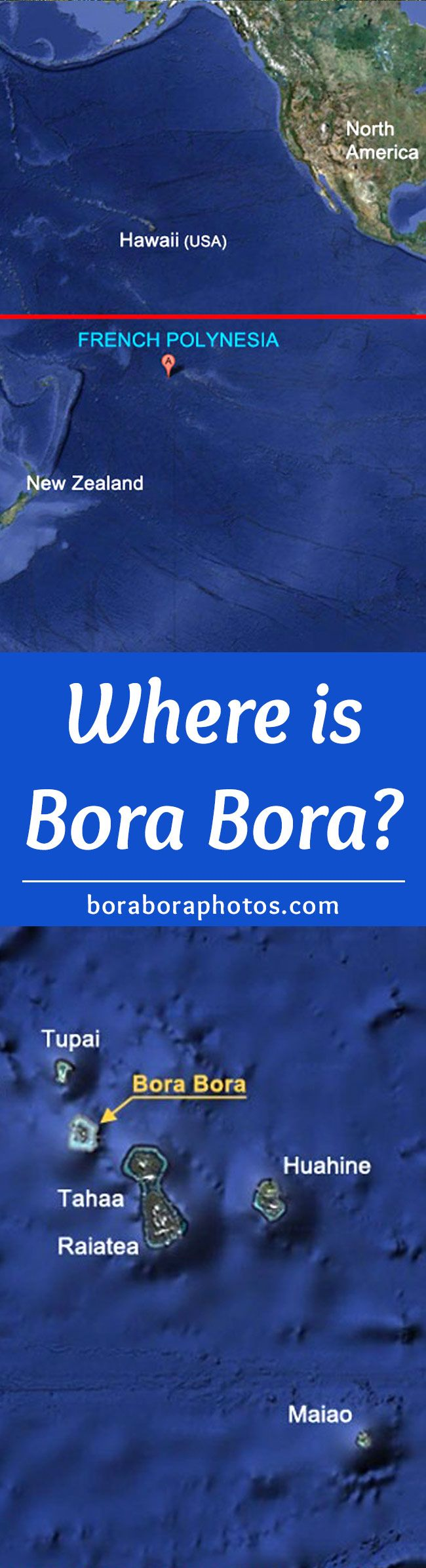 "Where is Bora Bora? - They call this island ""The Pearl Of The Pacific"" and it's located in French Polynesia. It's also part of an island chain called the Society Islands. Bora Bora is located about 160 miles northwest of Tahiti and approximately 2,600 miles south of Hawaii. The island was discovered in 1722 by James Cook."