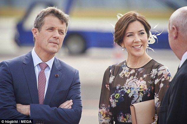 The Princess and her husband Prince Frederik were at Copenhagen airport to welcome Japan's future sovereign Crown Prince Naruhito