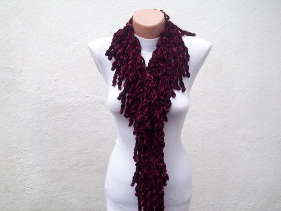 Burgundy  knit scarf  soft velvet  Winter accessories  by nurlu