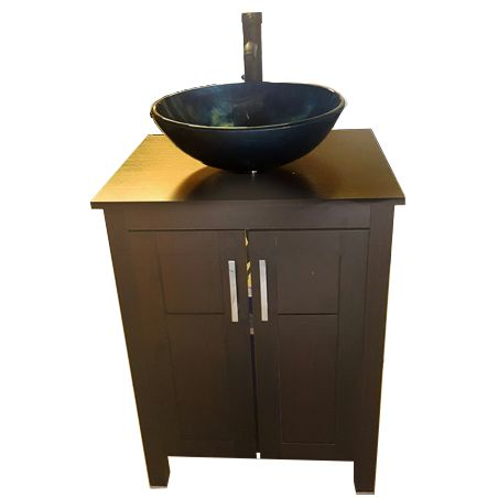 This wood cabinet portable sink is perfect for spa location or luxury office.