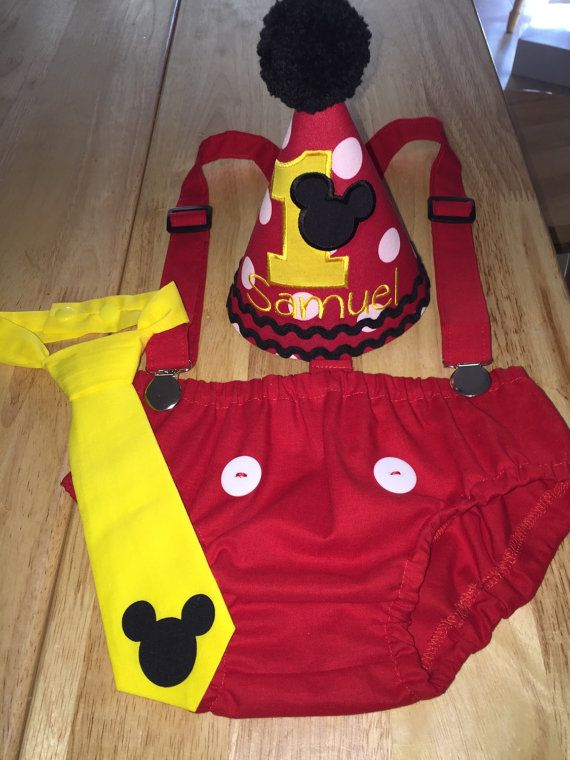 Cake Smash Outfit Mickey Mouse Personalized by SlickandBoogers