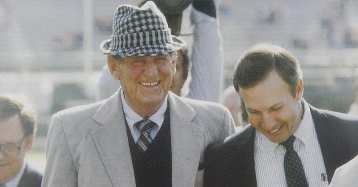 "Alabama and Auburn football coaches Paul ""Bear"" Bryant and Pat Dye"
