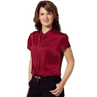 Womens Neck Tied Blouse Min 25 - Clothing - Business Shirts - Her Business Wear - WS-M88101 - Best Value Promotional items including Promotional Merchandise, Printed T shirts, Promotional Mugs, Promotional Clothing and Corporate Gifts from PROMOSXCHAGE - Melbourne, Sydney, Brisbane - Call 1800 PROMOS (776 667)