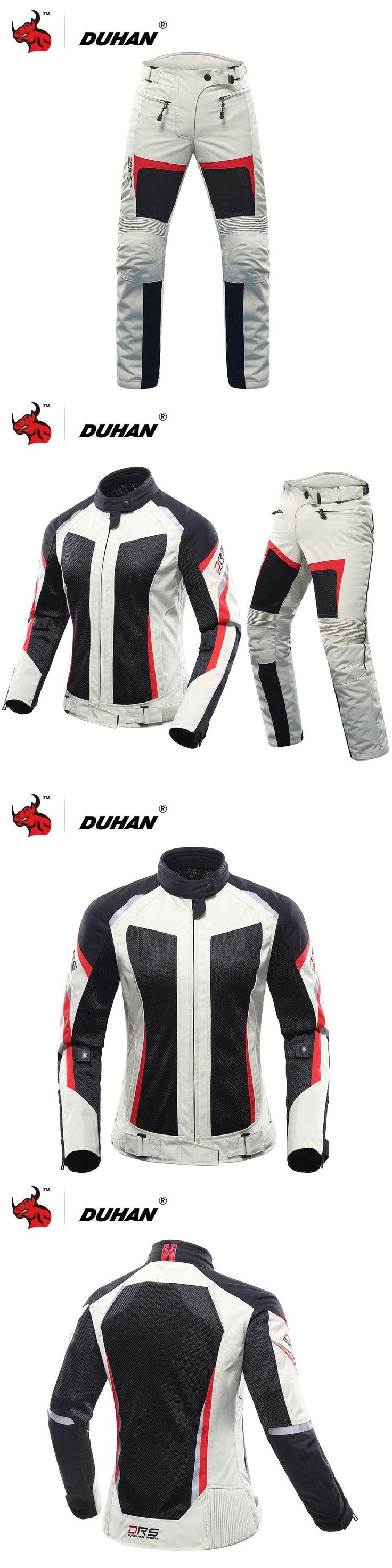 DUHAN Women Motorcycle Jacket+Motorcycle Pants Summer Breathable Motorcycle Suit Gray Racing Jacket Moto Jacket Blouson Moto