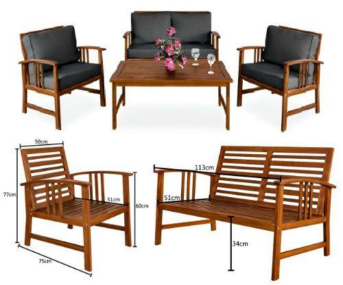 Garden Furniture Set Patio Wooden Lounge Sofa Armchair Table Set Cushion Outdoor #GardenFurniture
