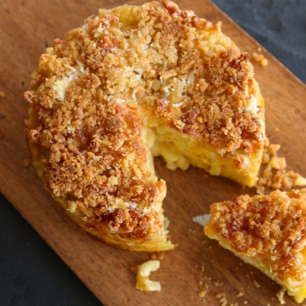This Air Fried Mac & Cheese Wheel can be cut and served like a cake. How cool is that?