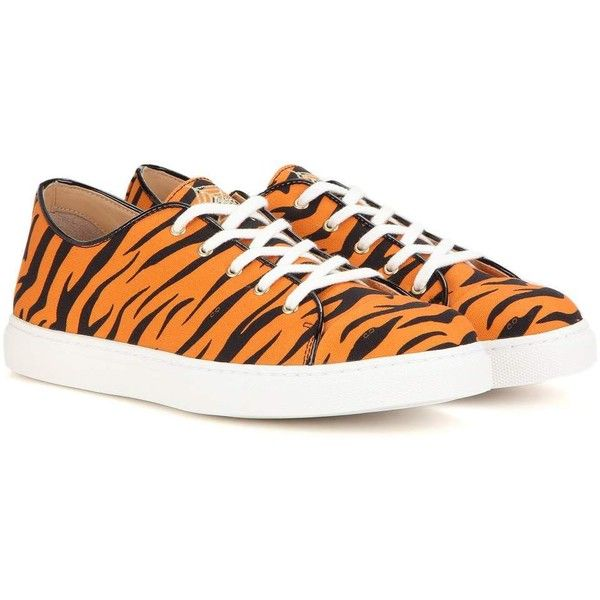 Charlotte Olympia Low-Top Printed Sneakers ($135) ❤ liked on Polyvore featuring shoes, sneakers, orange, orange sneakers, charlotte olympia, charlotte olympia shoes, low profile shoes and low profile sneakers
