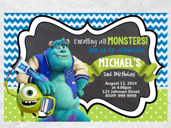 Monsters University Birthday Invitation Chalkboard by VPrintables