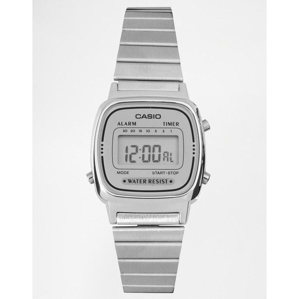 Casio Silver Mini Digital Watch LA670WEA-7EF ($37) ❤ liked on Polyvore featuring men's fashion, men's jewelry, men's watches, mens water resistant watches, casio mens watches, mens silver watches, mens analog digital watches and retro mens watches