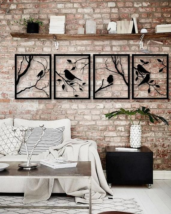 Tree Branches With Lovely Birds 4 Pieces Metal Wall Art Modern