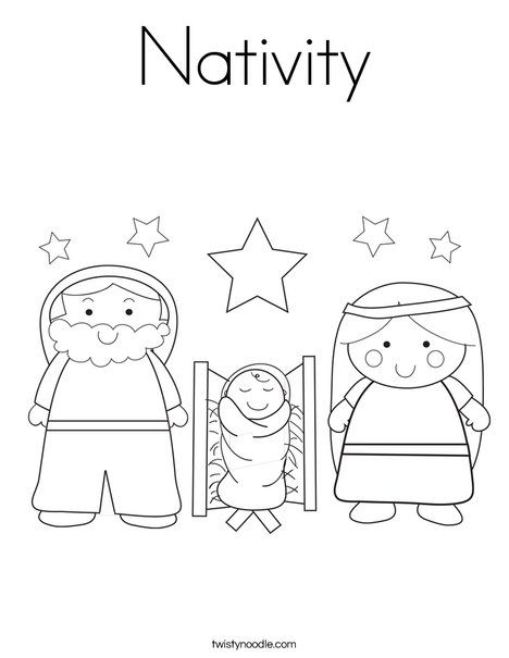 Nativity Coloring Page - TwistyNoodle.com