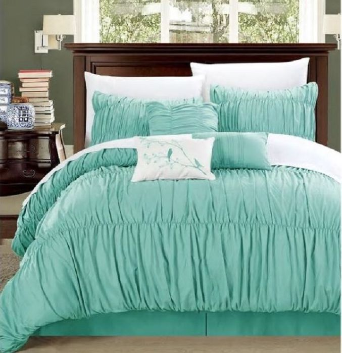 Chic Home Frances 7-piece Aqua Pleated and Ruffled Comforter Set - bedding
