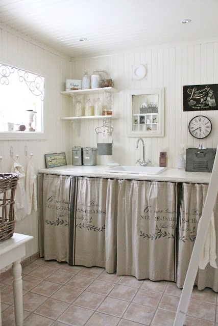 an entire planked room. those curtains. love it all. farmhouse laundry room!