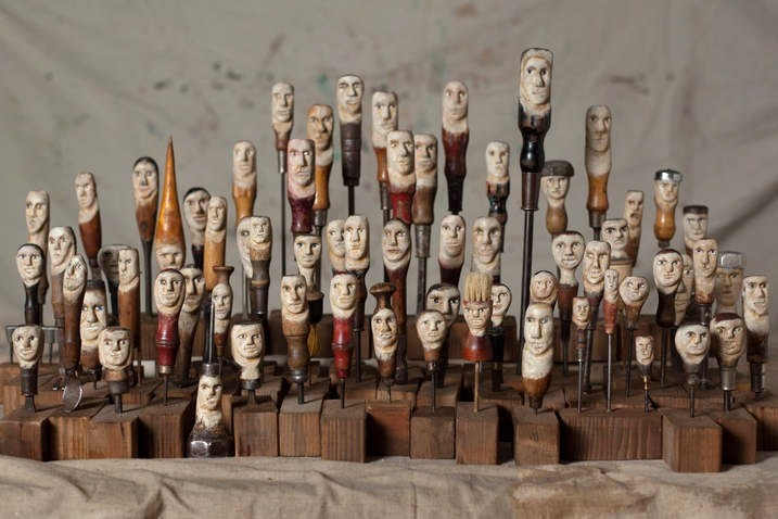 """""""class of 2012"""" 64 carved vintage tools"""