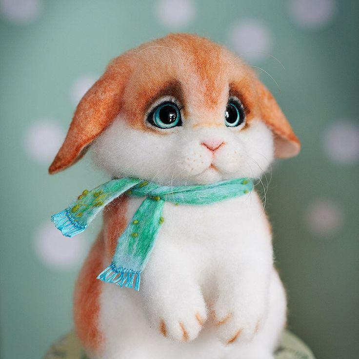 Валяная игрушка пушистый кролик, ручная работа, валяная скульптура by NataliaKravtsova on Etsy