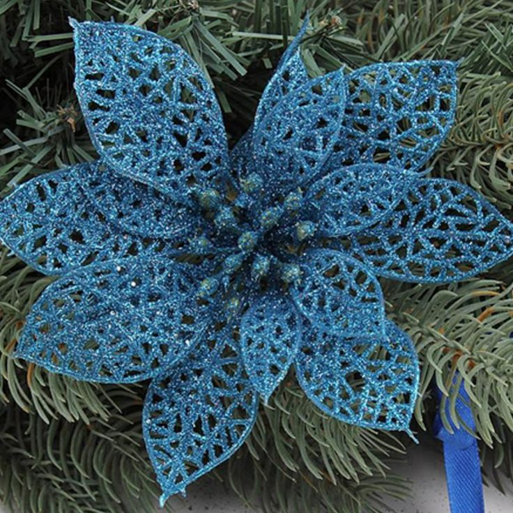 3Pcs 5 Inch Glitter Artificial Wedding Party Hollow Christmas Flowers XMAS Tree Wreaths Decor Ornament Hanging