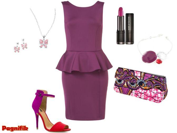 clutch Vanessa-Augris  Robe Peplum Topshop violet  Escarpins Zara violet/rouge