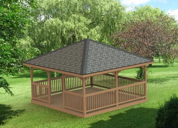 Garden Gazebo Building Plans I Hip Roof 16 X 16 Etsy Shed Building Plans Screened Gazebo Building A Shed